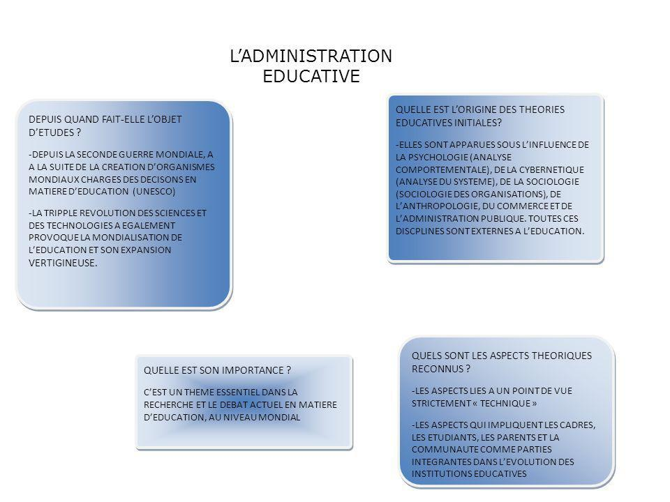 L'ADMINISTRATION EDUCATIVE
