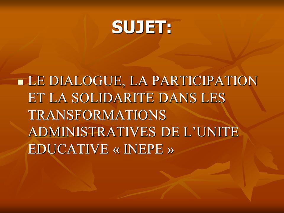 SUJET: LE DIALOGUE, LA PARTICIPATION ET LA SOLIDARITE DANS LES TRANSFORMATIONS ADMINISTRATIVES DE L'UNITE EDUCATIVE « INEPE »