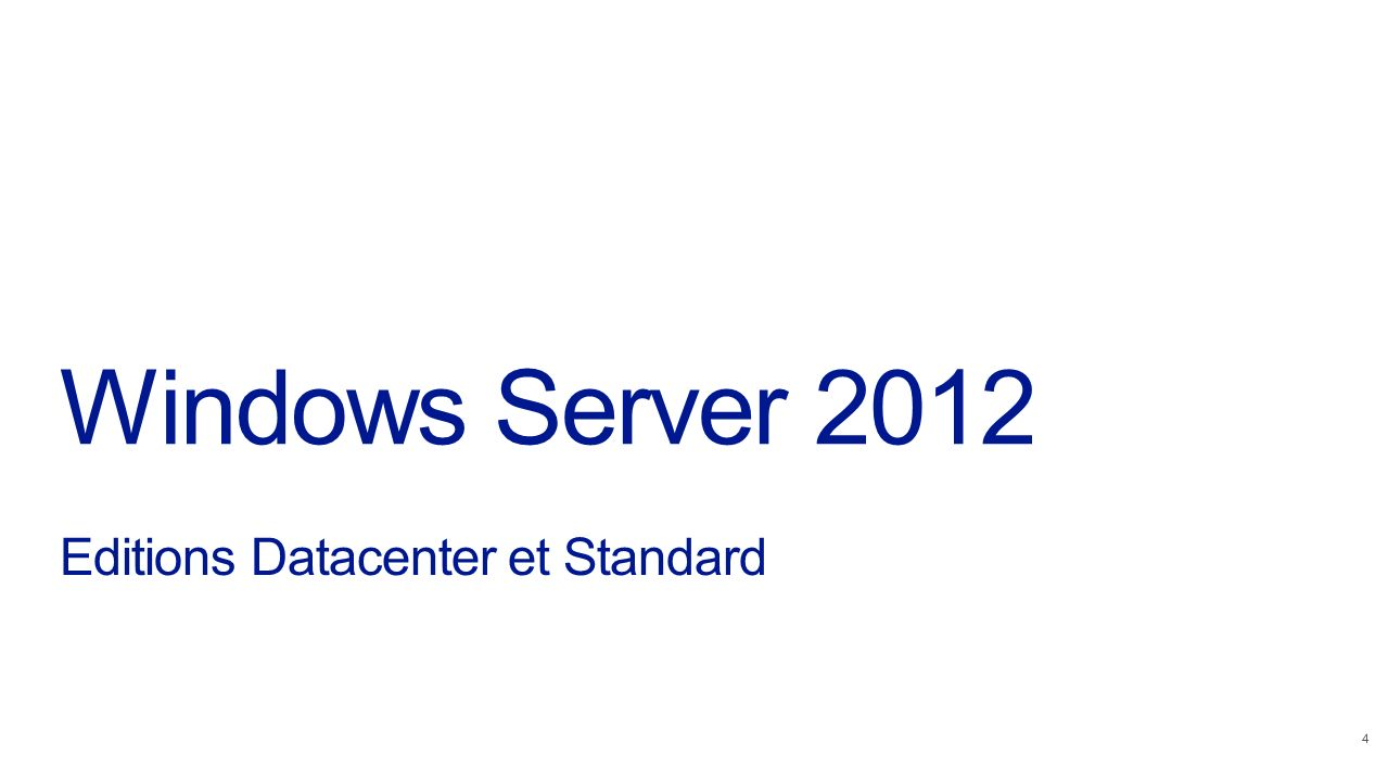 Windows Server 2012 Editions Datacenter et Standard