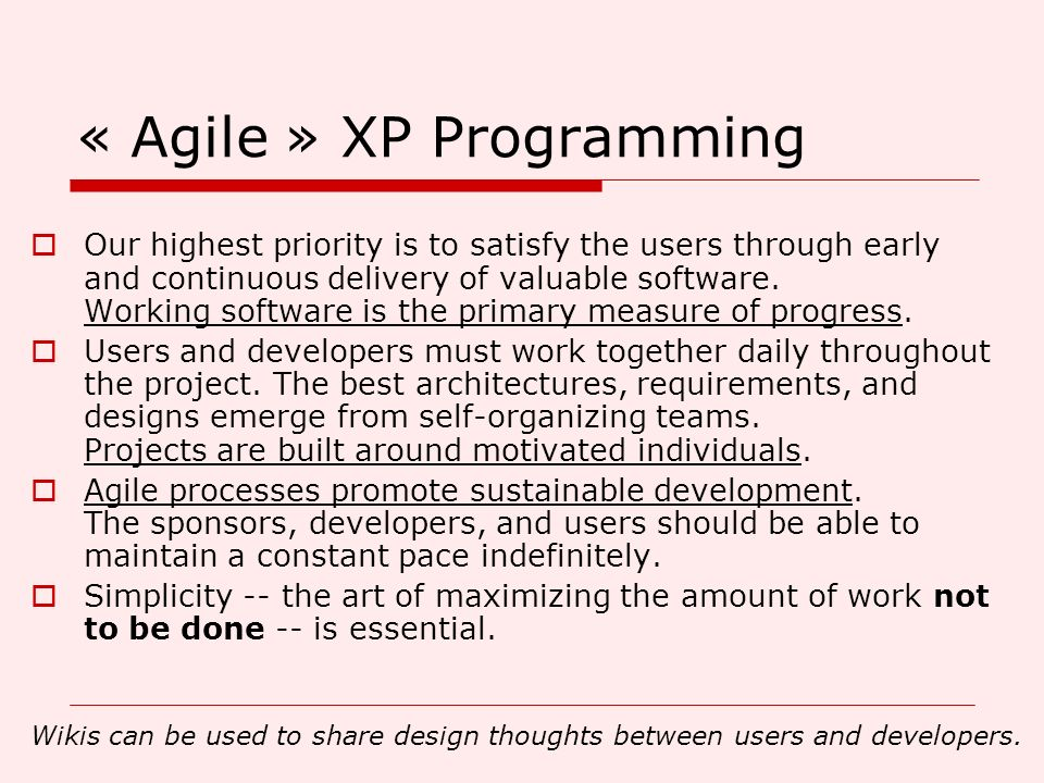 « Agile » XP Programming