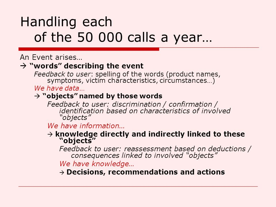 Handling each of the 50 000 calls a year…