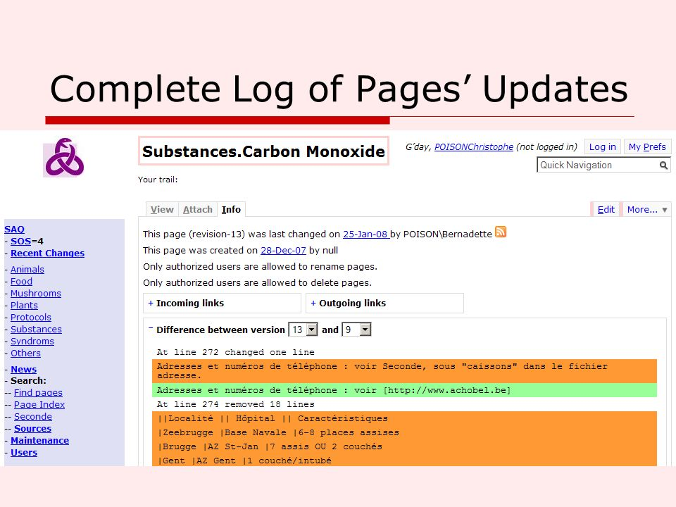 Complete Log of Pages' Updates