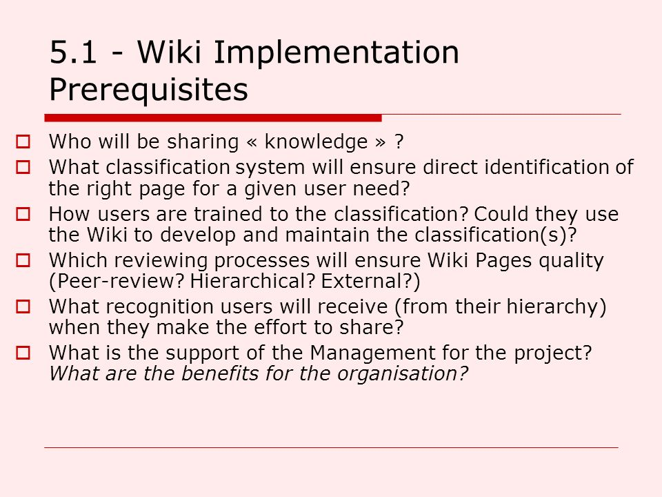 5.1 - Wiki Implementation Prerequisites