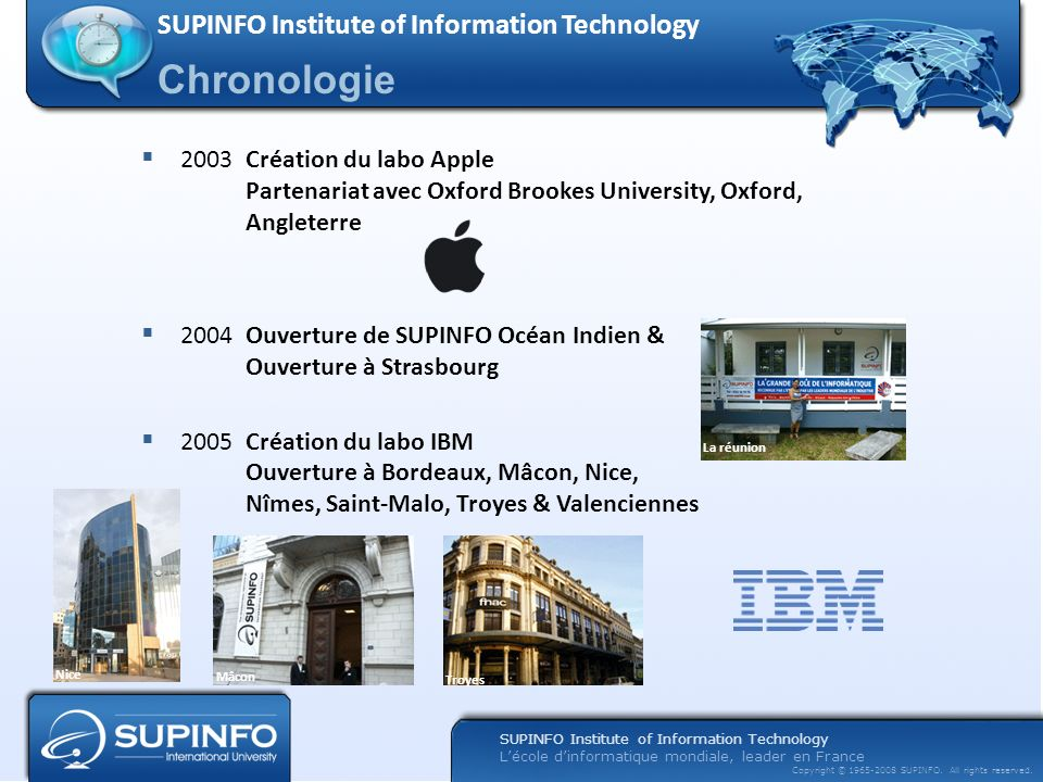 Chronologie SUPINFO Institute of Information Technology