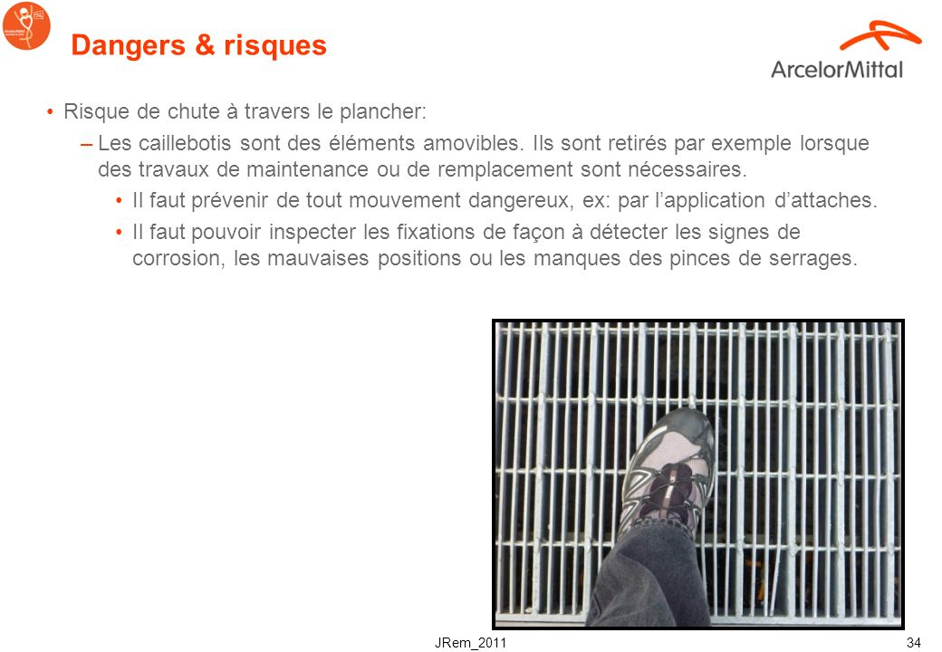 Dangers & risques Risque de chute à travers le plancher: