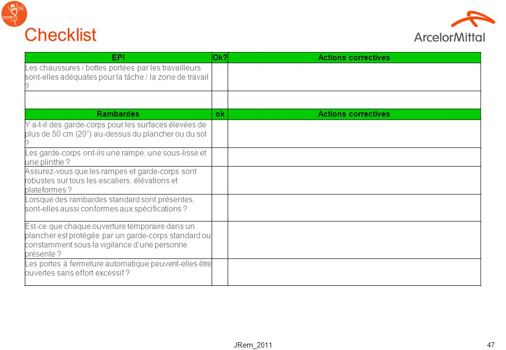 Checklist EPI Ok Actions correctives