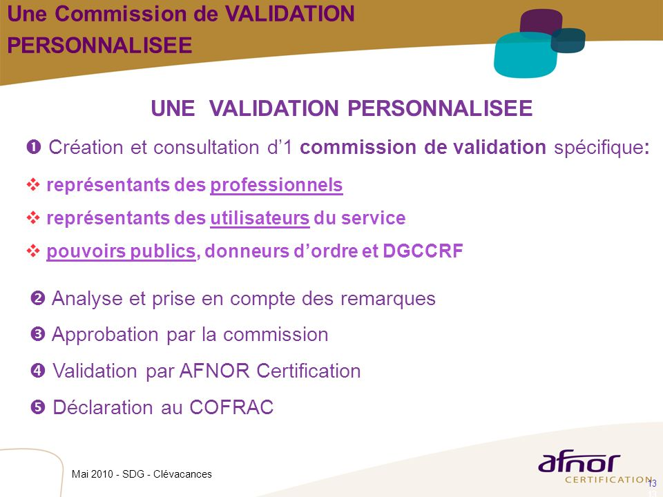 UNE VALIDATION PERSONNALISEE