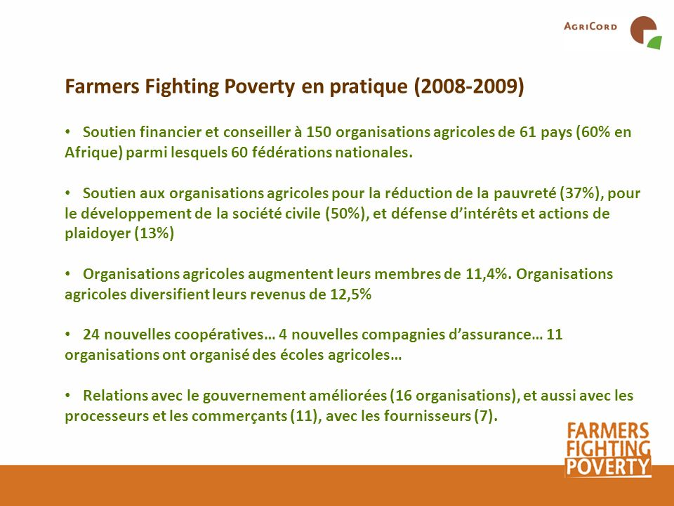 Farmers Fighting Poverty en pratique ( )