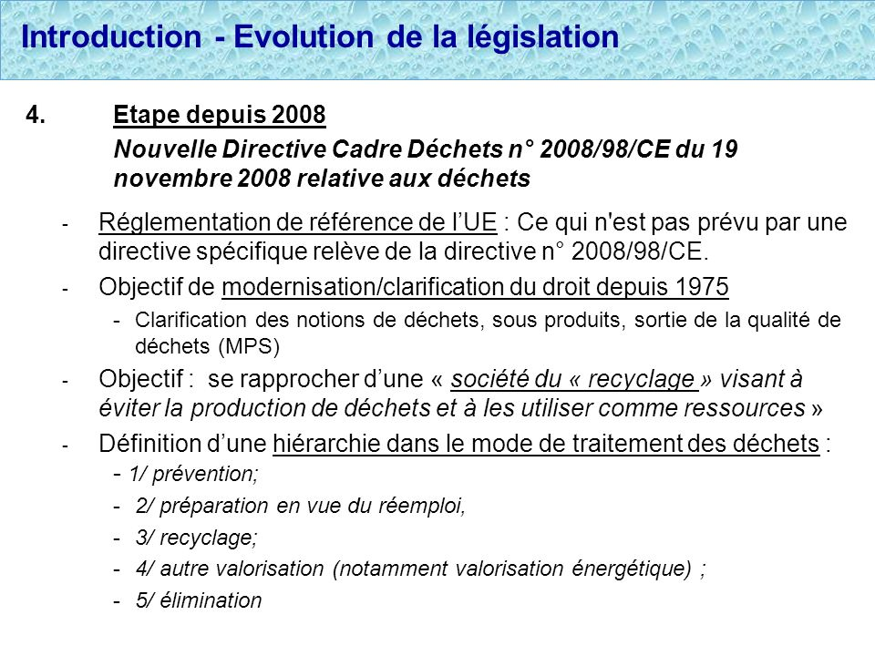 Introduction - Evolution de la législation