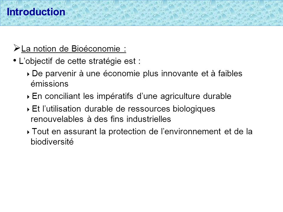Introduction La notion de Bioéconomie :
