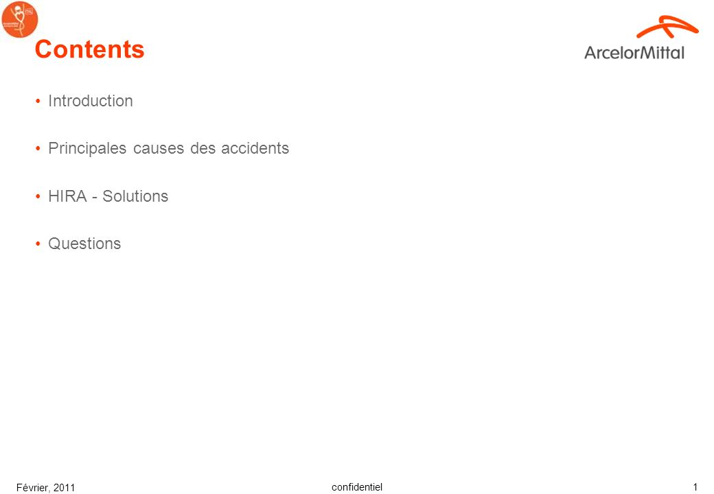 Contents Introduction Principales causes des accidents