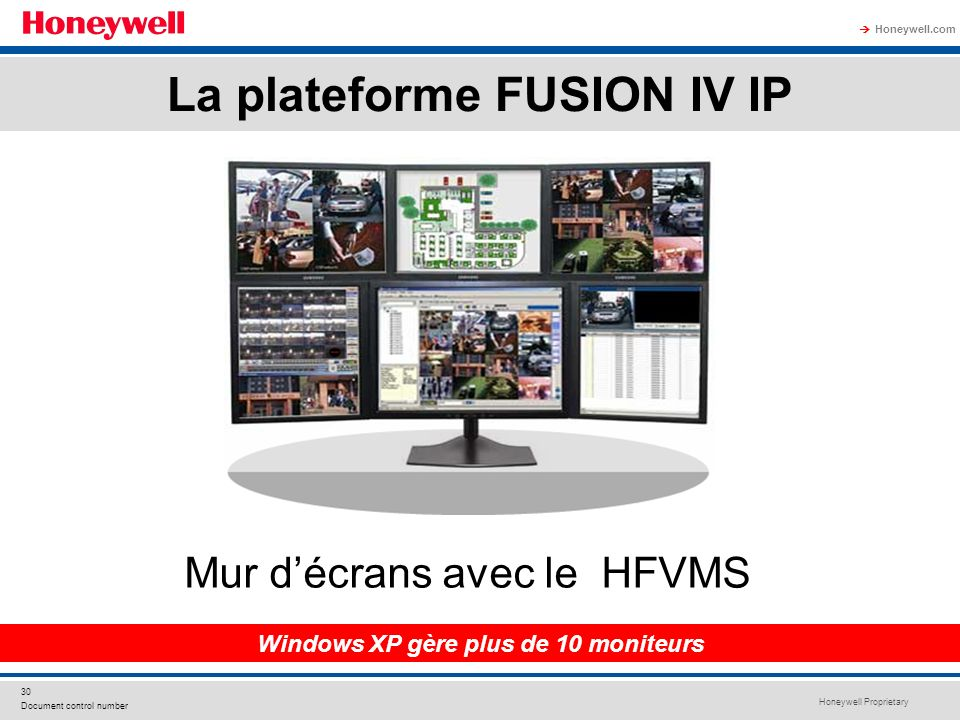 La plateforme FUSION IV IP Windows XP gère plus de 10 moniteurs