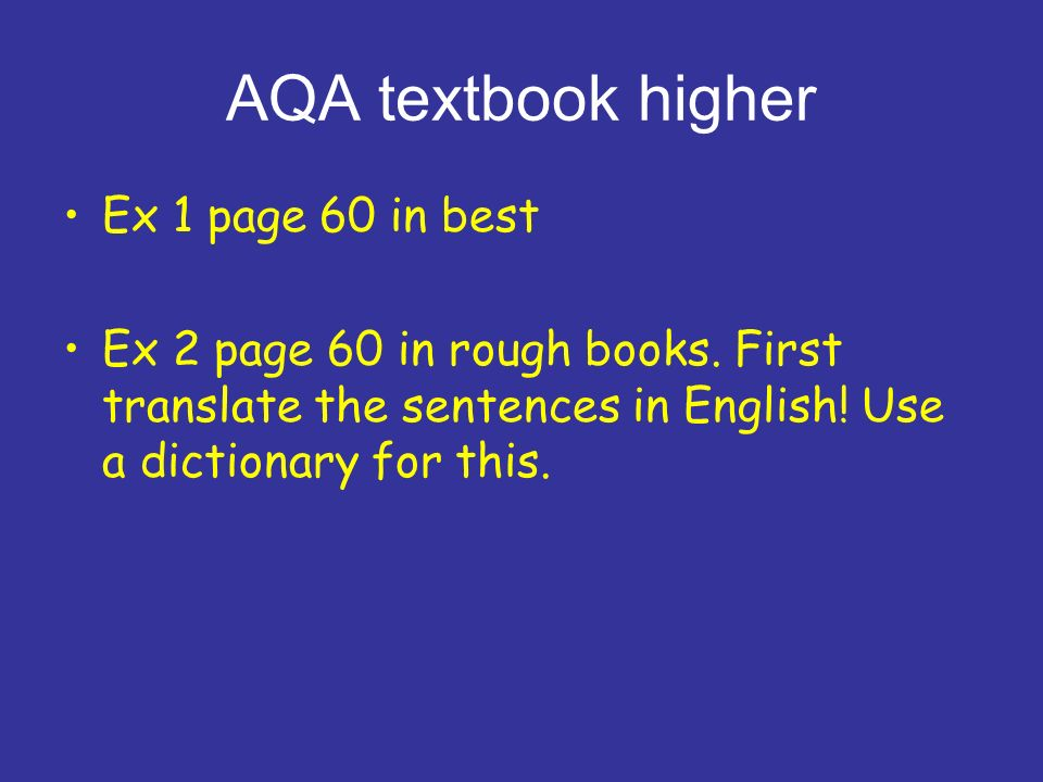 AQA textbook higher Ex 1 page 60 in best