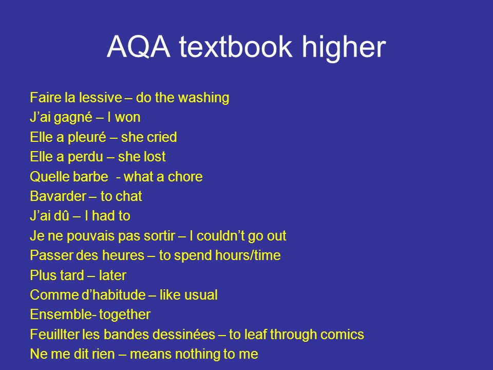 AQA textbook higher Faire la lessive – do the washing
