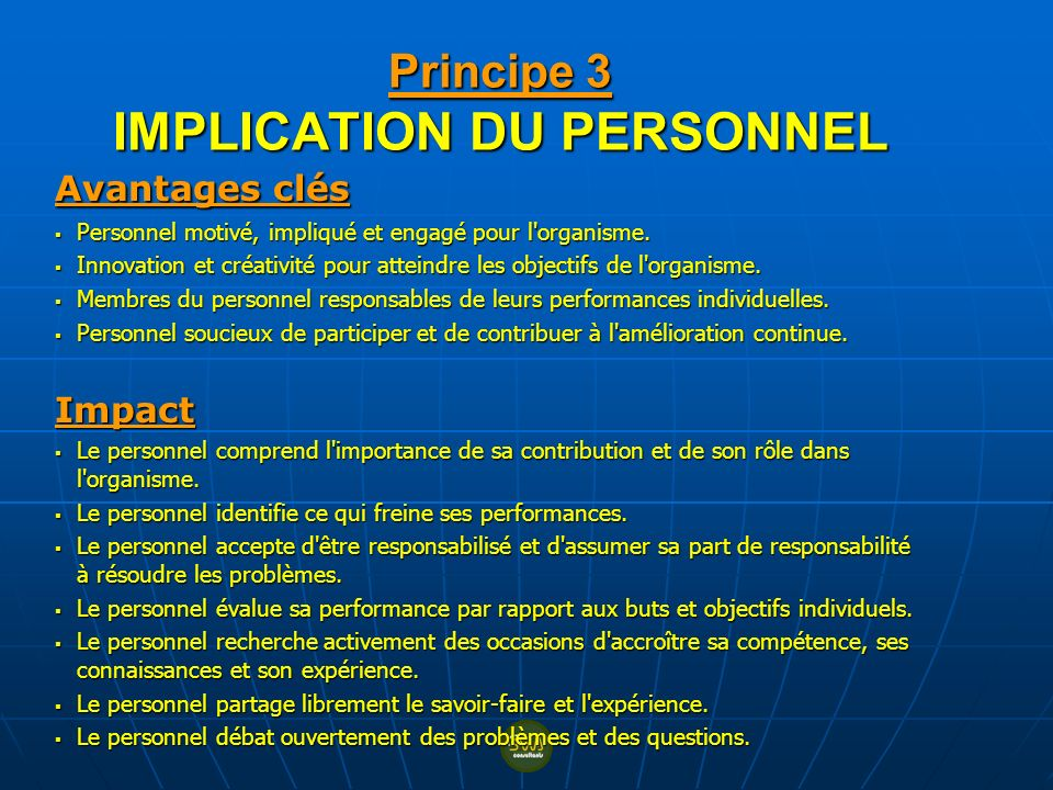 Principe 3 IMPLICATION DU PERSONNEL