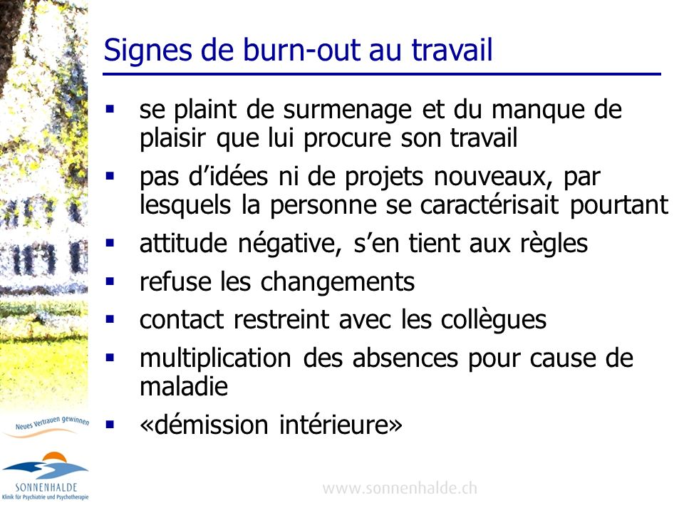 Signes de burn-out au travail