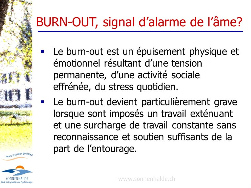 BURN-OUT, signal d'alarme de l'âme