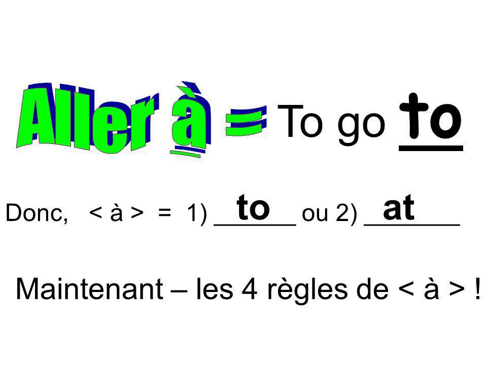 To go to to at Maintenant – les 4 règles de < à > !