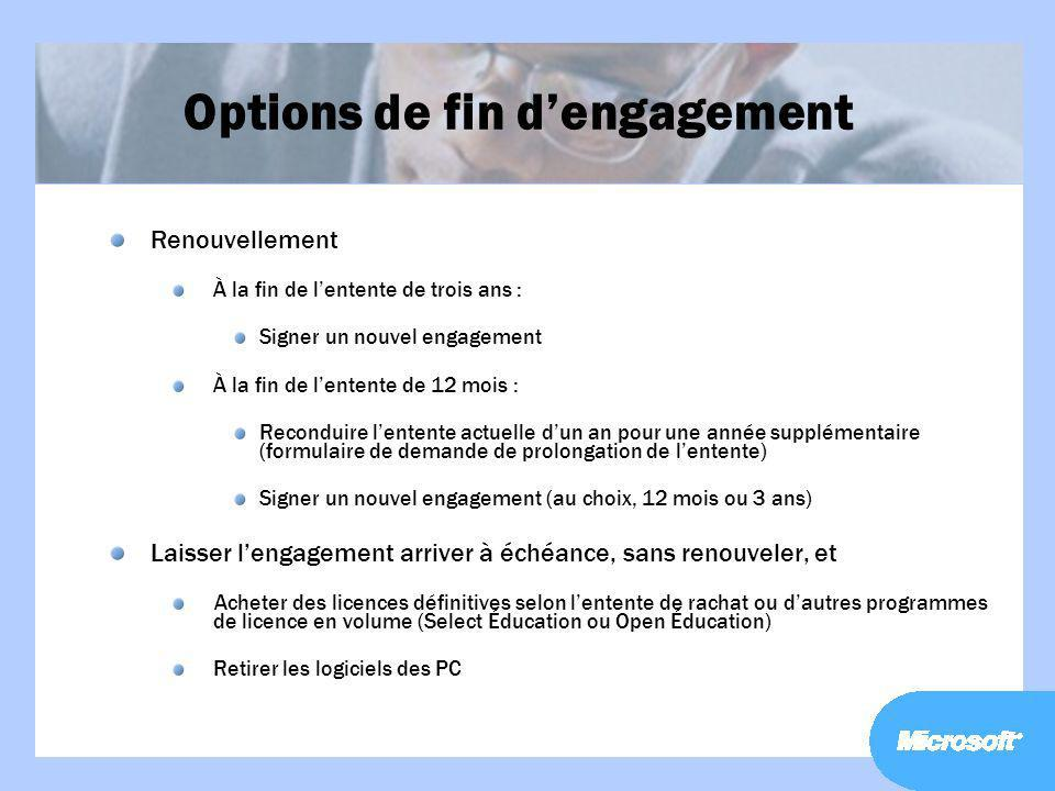 Options de fin d'engagement