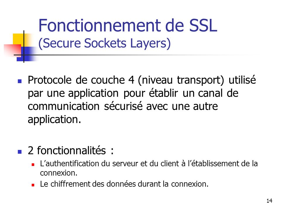 Fonctionnement de SSL (Secure Sockets Layers)
