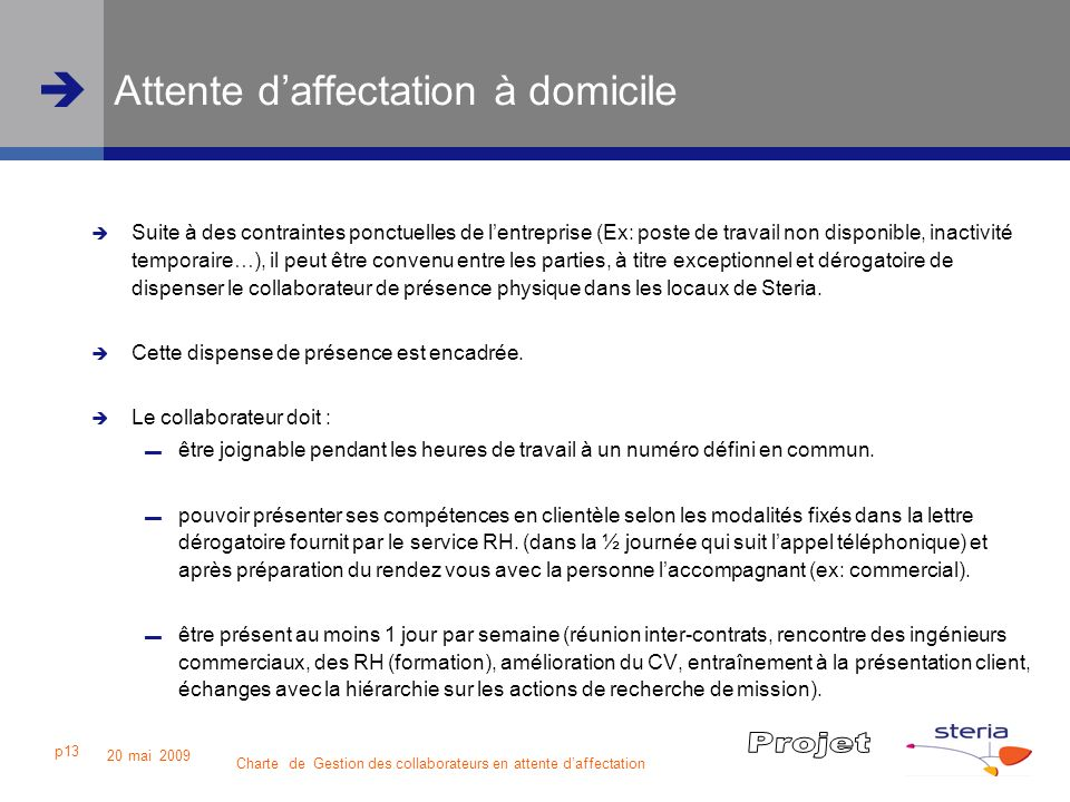 Attente d'affectation à domicile