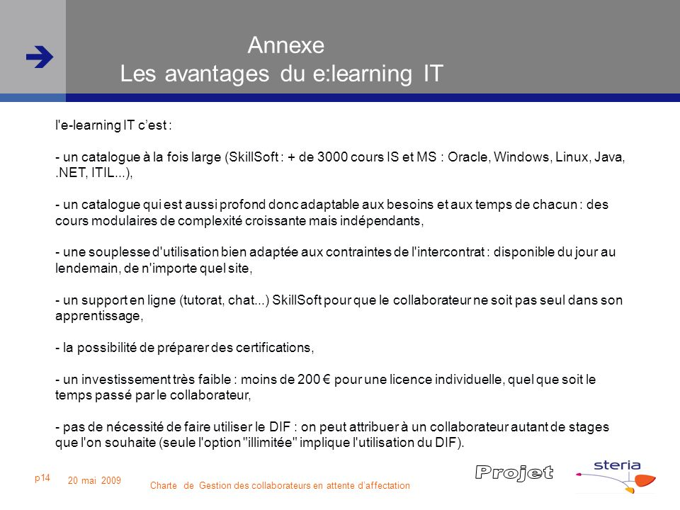 Annexe Les avantages du e:learning IT