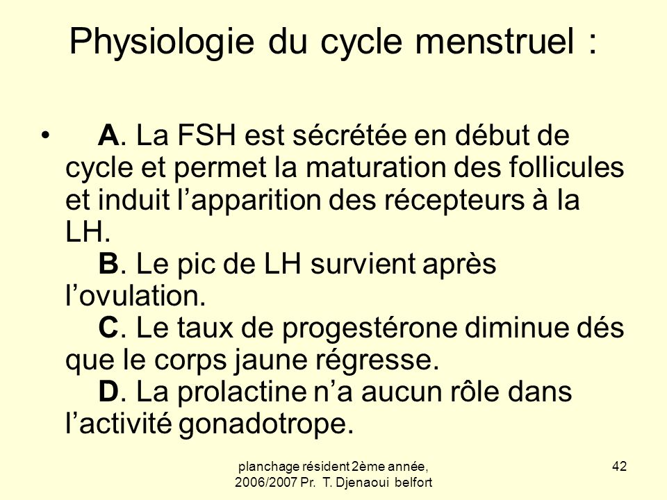 Physiologie du cycle menstruel :