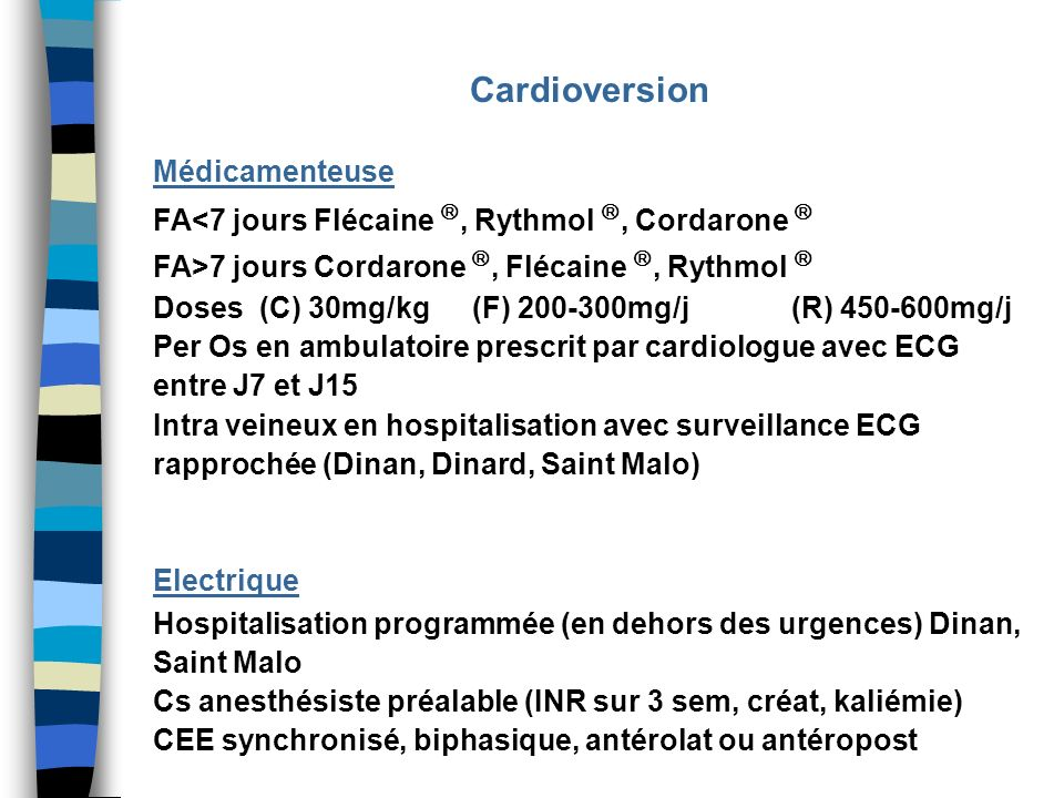 Cardioversion Médicamenteuse