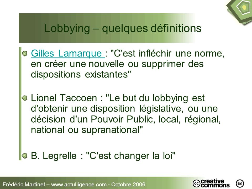 Lobbying – quelques définitions