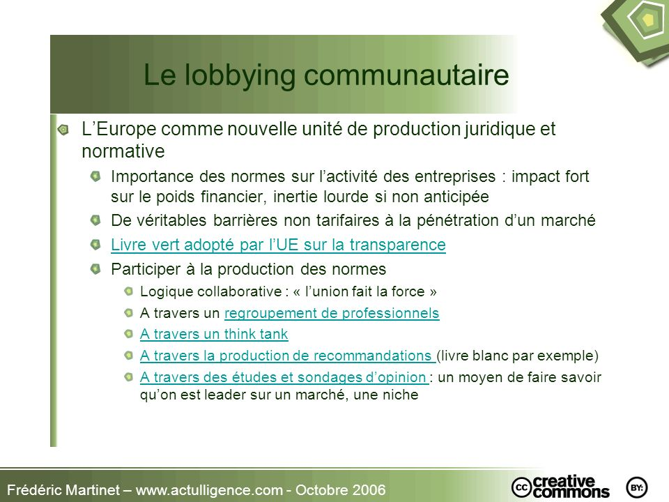 Le lobbying communautaire