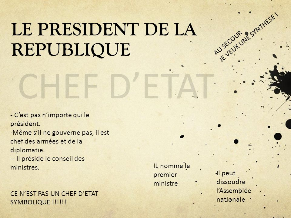 LE PRESIDENT DE LA REPUBLIQUE