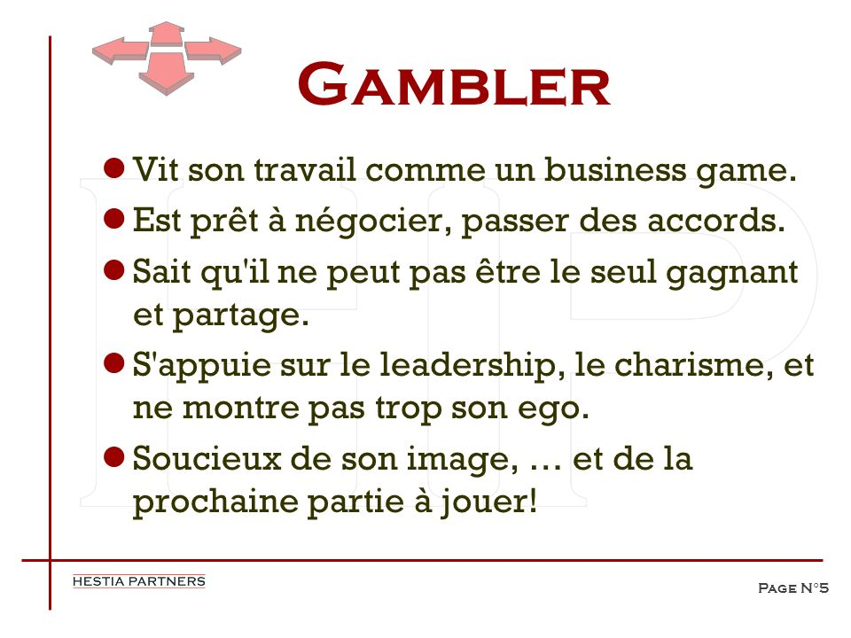 Gambler Vit son travail comme un business game.