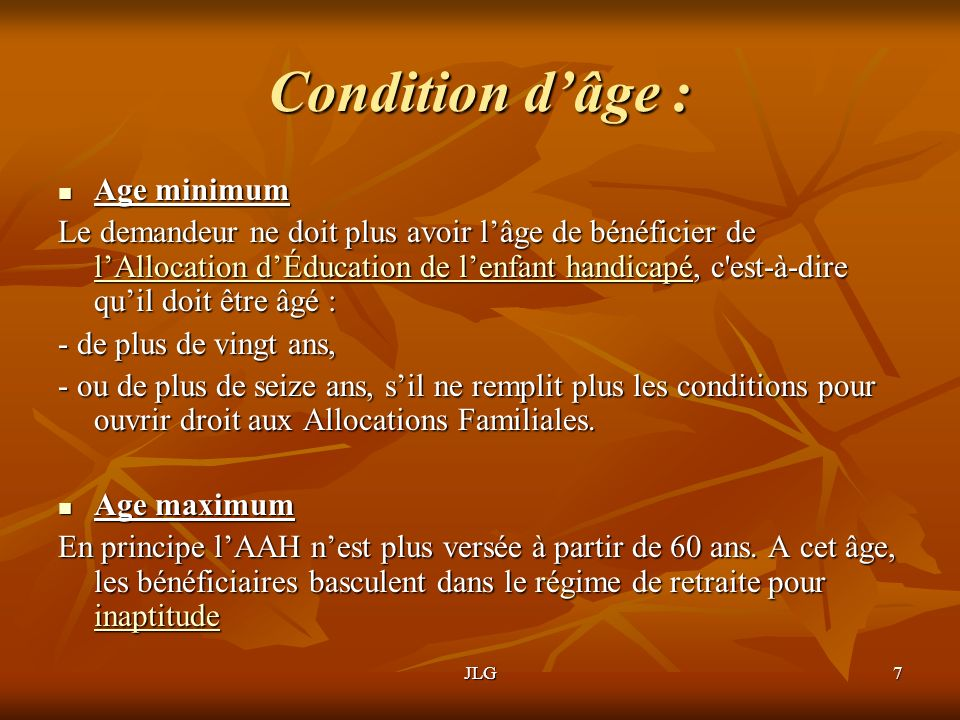 Condition d'âge : Age minimum