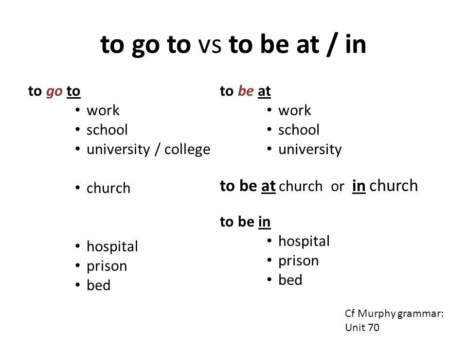 to go to vs to be at / in to be at church or in church to go to work