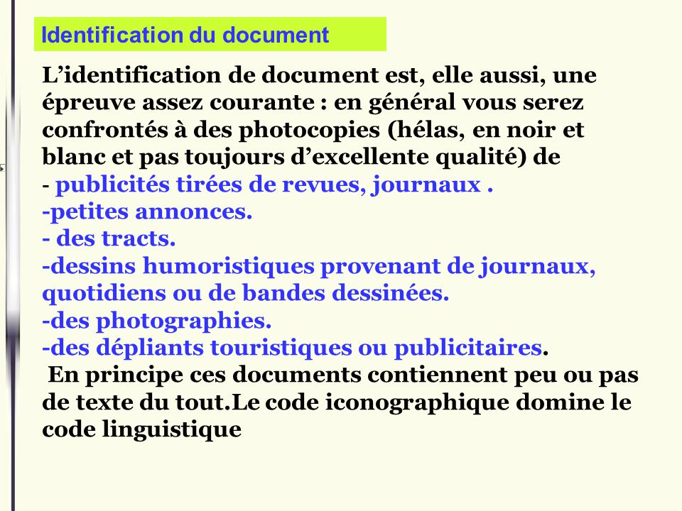 Identification du document