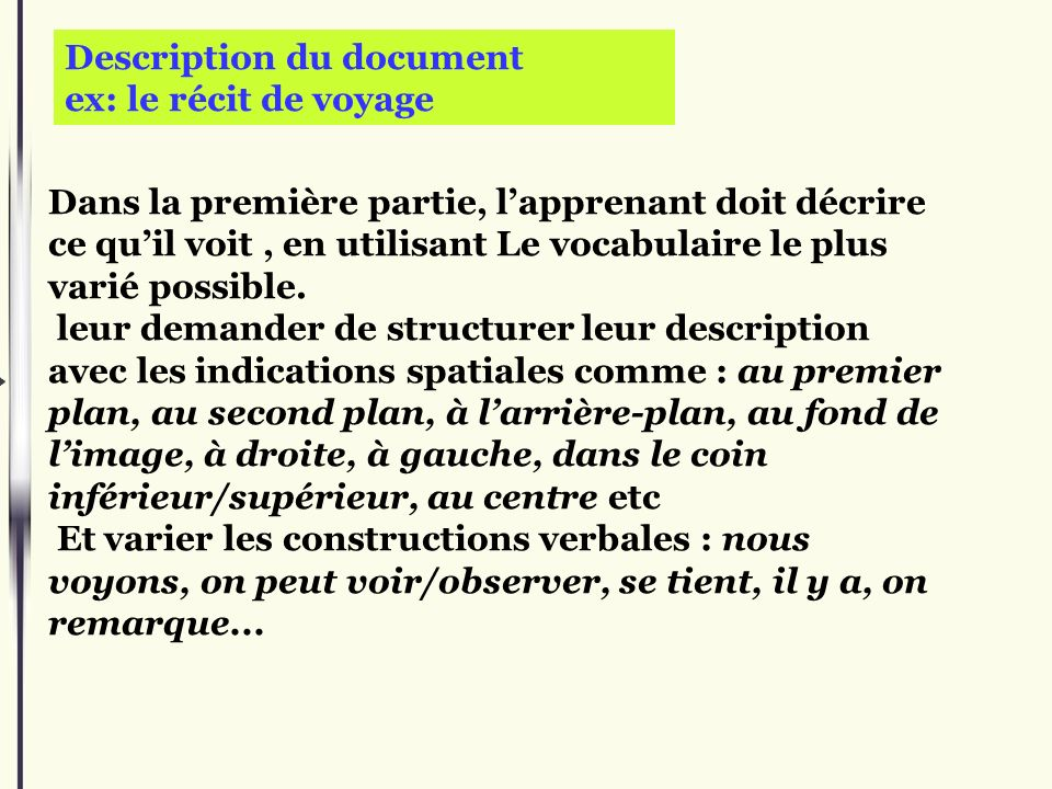 Description du document ex: le récit de voyage