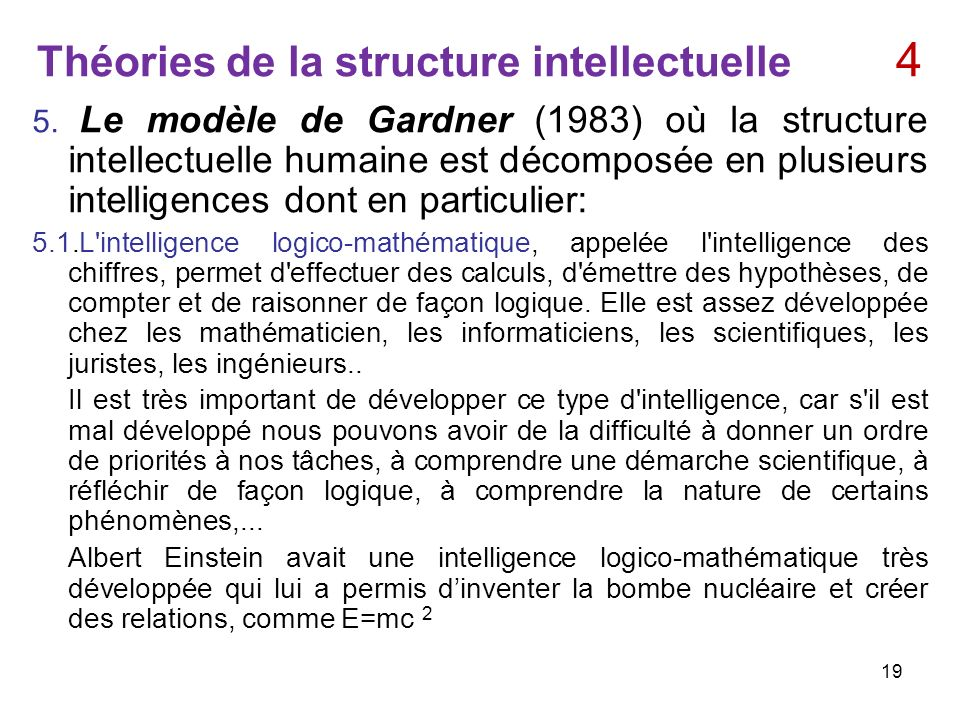 Théories de la structure intellectuelle 4