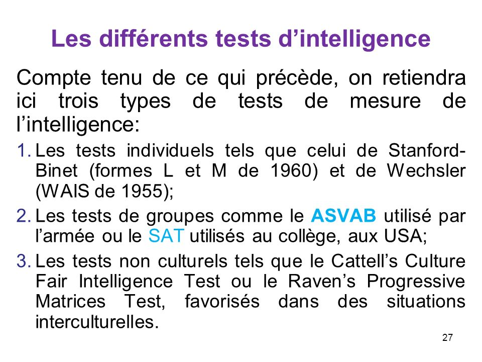 Les différents tests d'intelligence