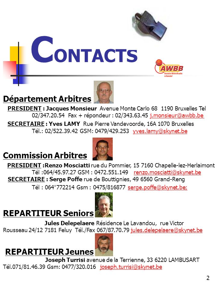 CONTACTS Département Arbitres Commission Arbitres REPARTITEUR Seniors