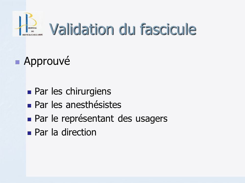 Validation du fascicule