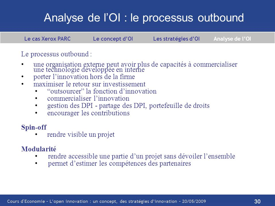 Analyse de l'OI : le processus outbound