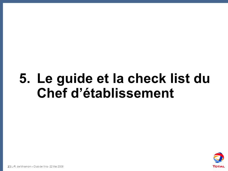 5. Le guide et la check list du Chef d'établissement