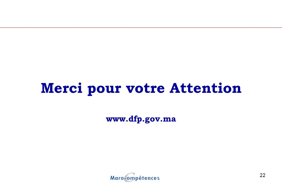 Merci pour votre Attention www.dfp.gov.ma