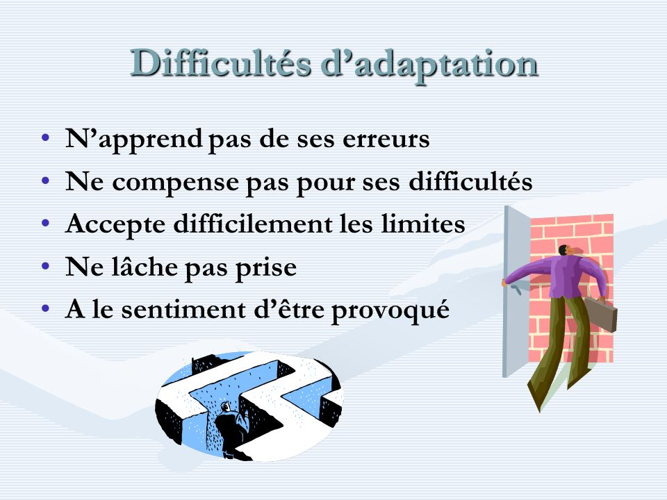 Difficultés d'adaptation
