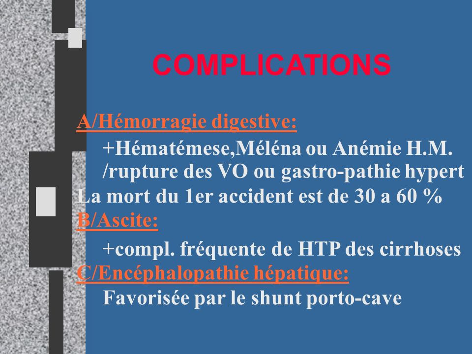 COMPLICATIONS A/Hémorragie digestive: