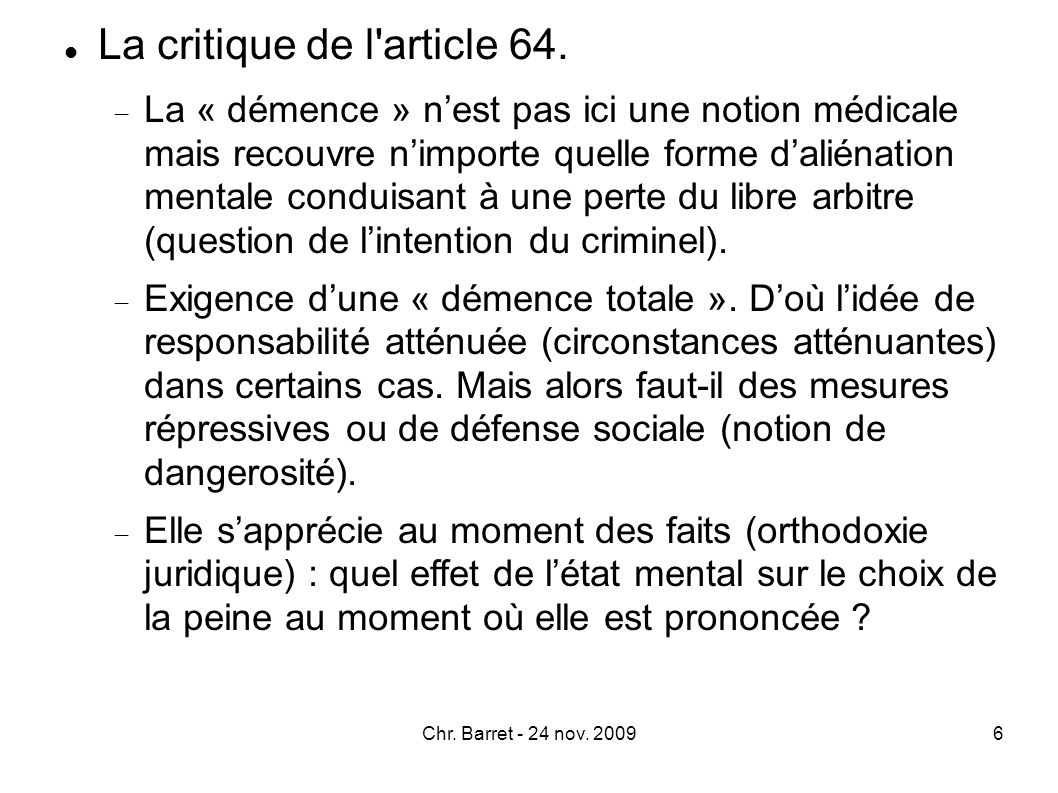 La critique de l article 64.