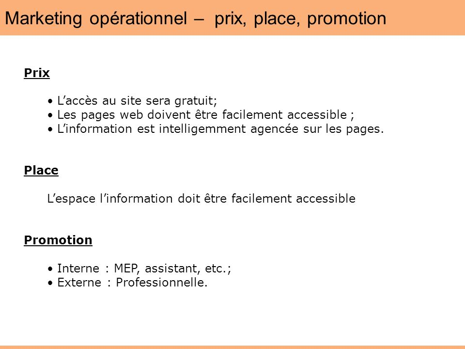 Marketing opérationnel – prix, place, promotion