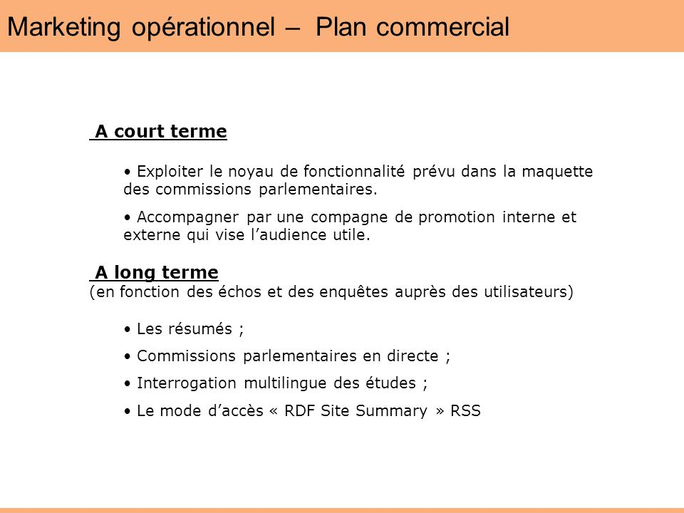 Marketing opérationnel – Plan commercial