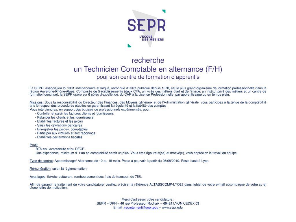 Recherche Un Technicien Comptable En Alternance F H Pour