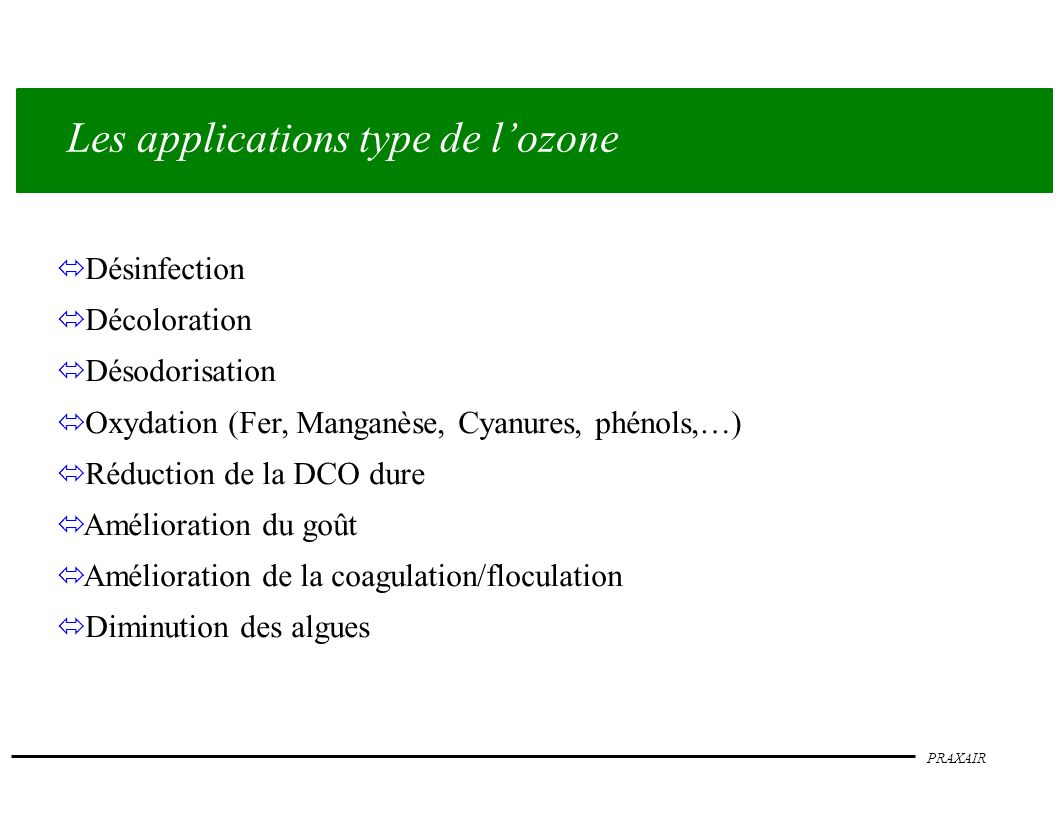 Les applications type de l'ozone